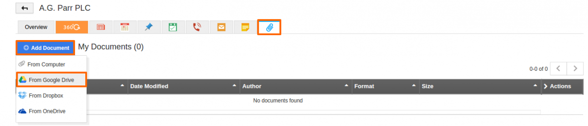 Add document from Google drive