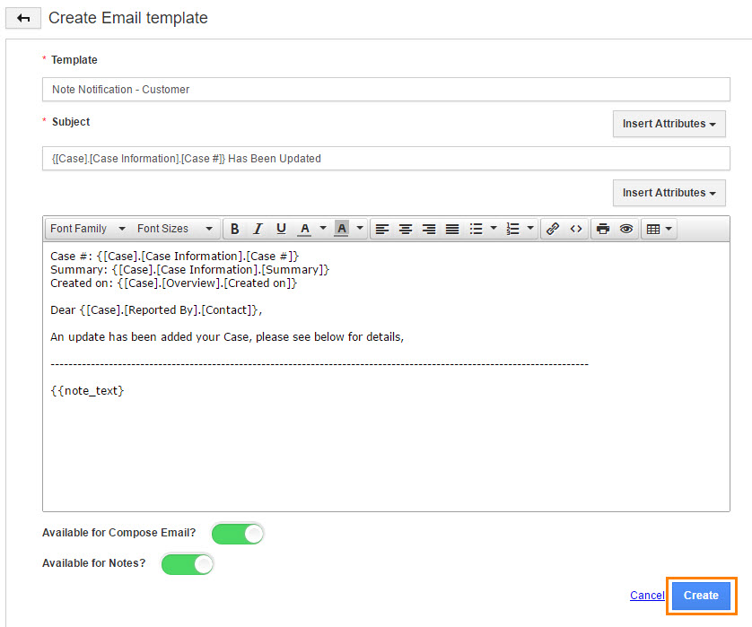 Enable email notification for notes creation apptivo faq for Customer support email template