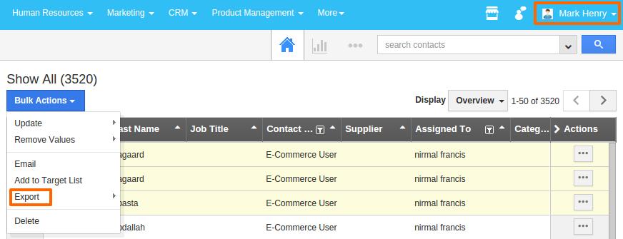 contact export option