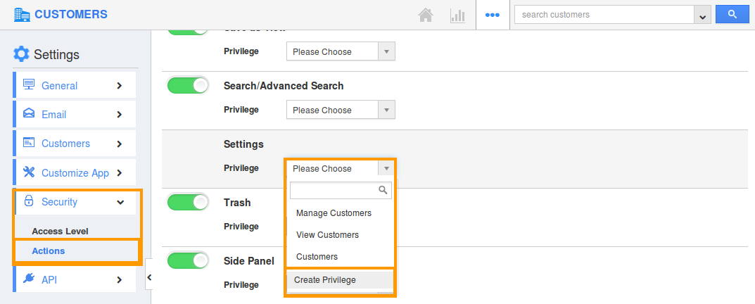 Create setting privilege