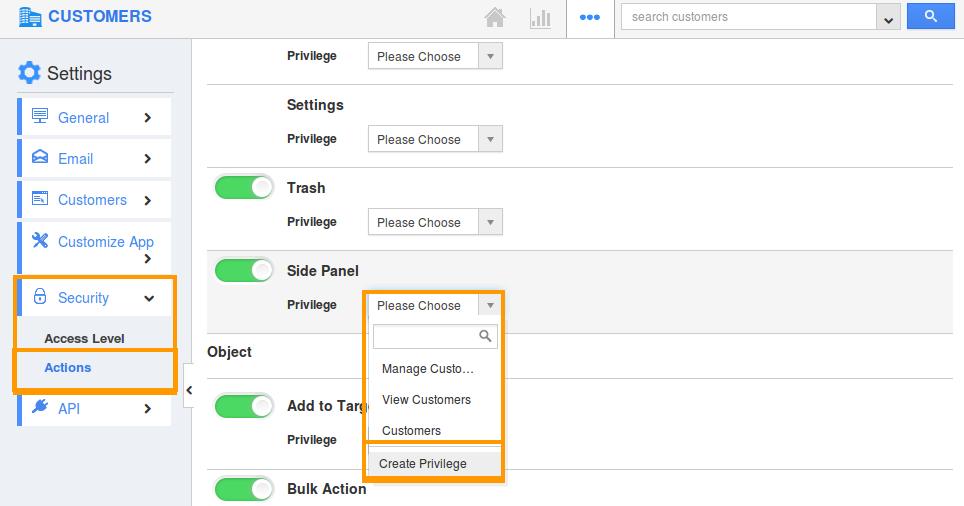 Create side panel privilege