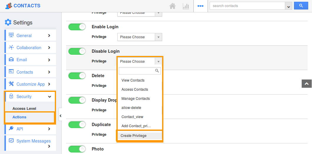 Create disable login privilege