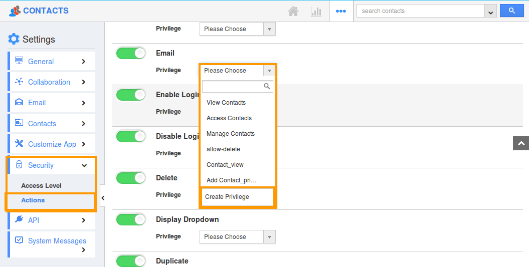 Create email privilege