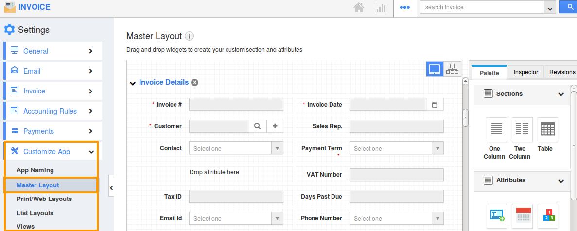 invoice master layout