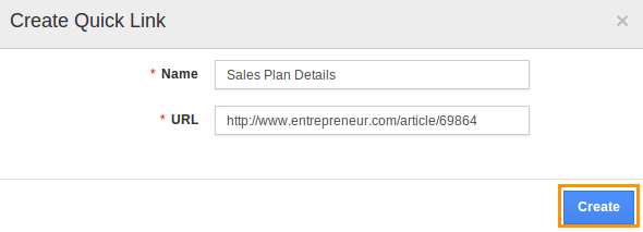 create quick link