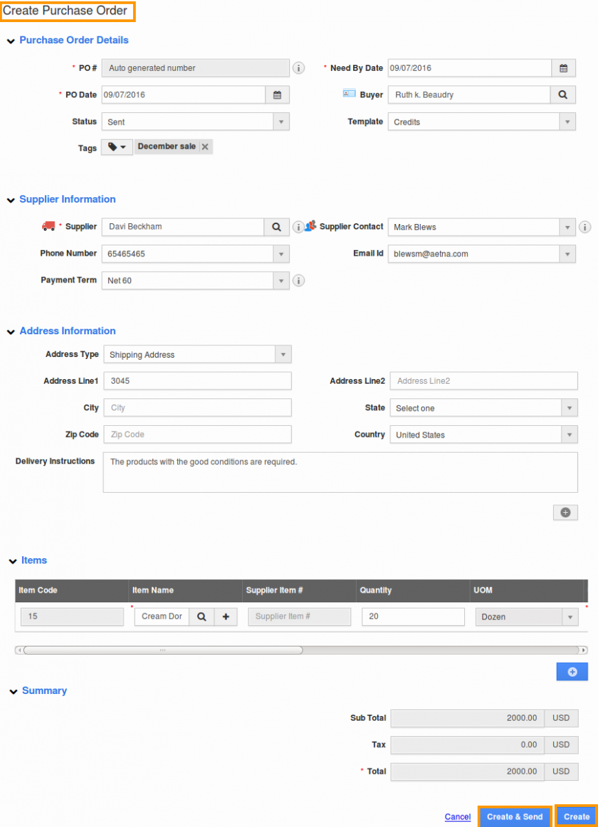 how to create purchase order in zoho