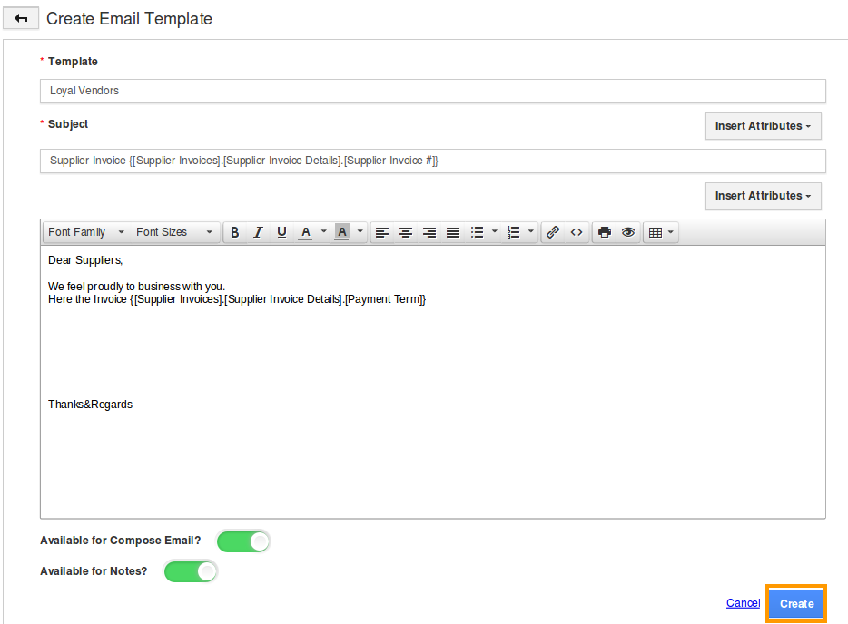 compose email template - how do i setup custom email templates for my supplier