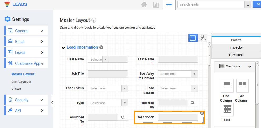 leads description field