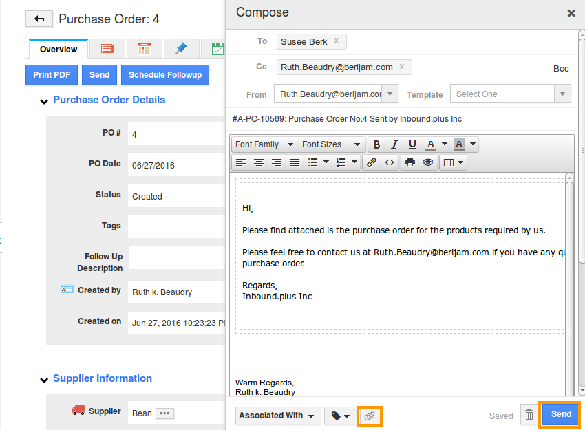 purchase order email template - how do i send purchase order to supplier apptivo faq