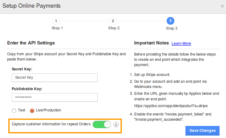 How Do I Set Up Stripe Payment Gateway In Invoices Apptivo FAQ - Stripe create invoice for service business