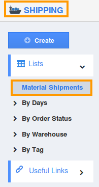 material shipments