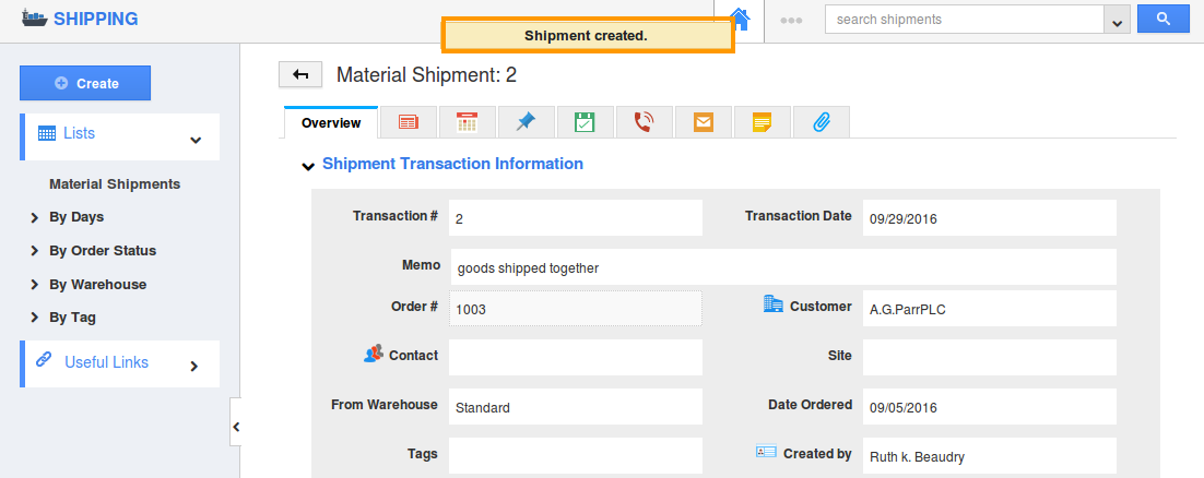shipment created