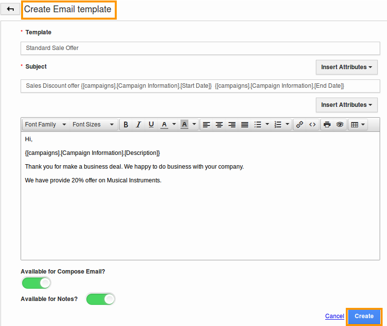 create campaigns email template