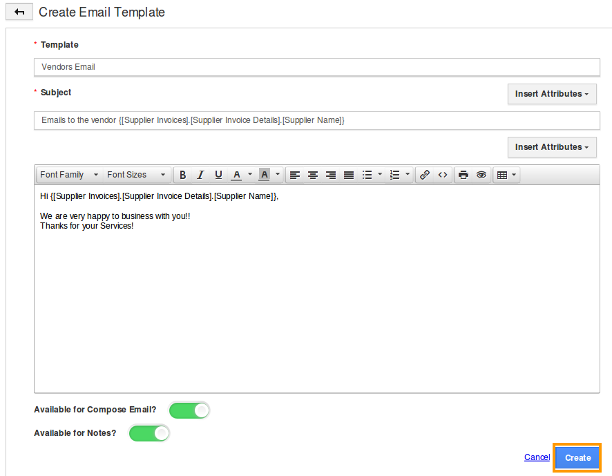 How Do I Setup Custom Email Templates For Supplier Invoices - Invoice message template