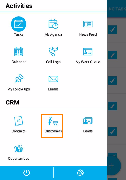 crm customers app page