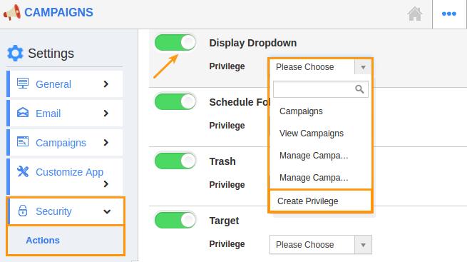 display dropdown create privilege
