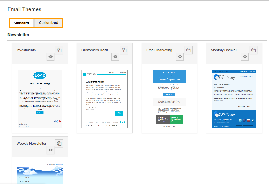 email themes overview page