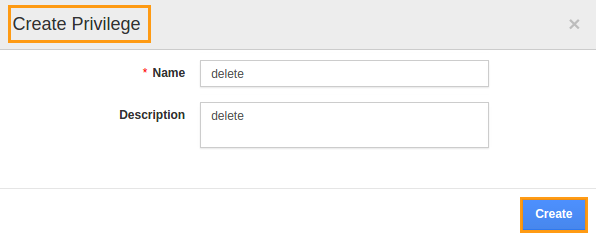 create privilege delete popup