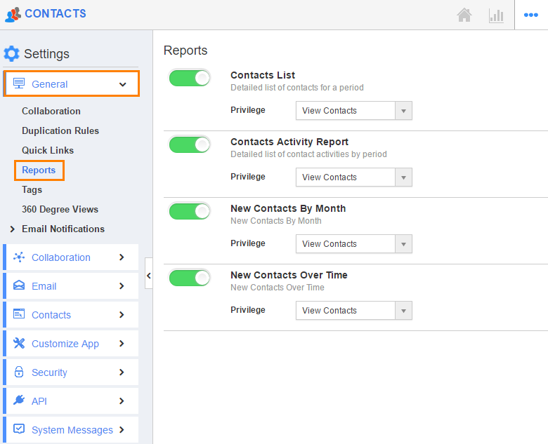 image result for reports in contacts app