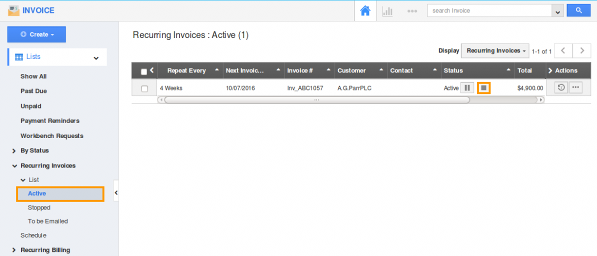 stop active recurring invoice