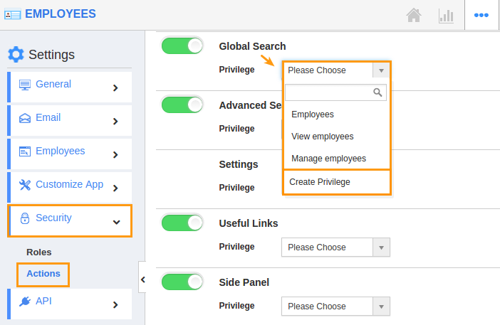 image result for give permission to access global search in employees app