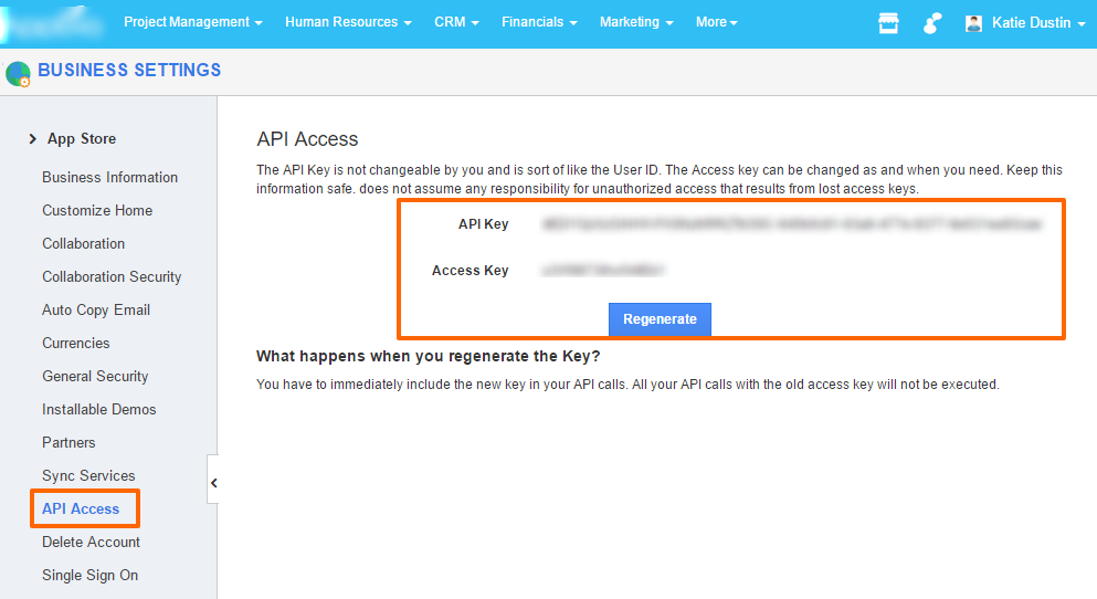 api access business settings