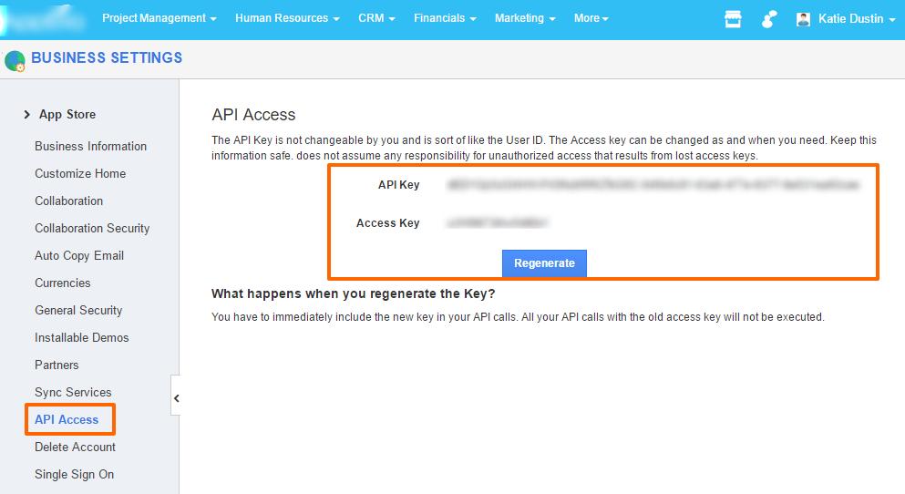 api access business settings