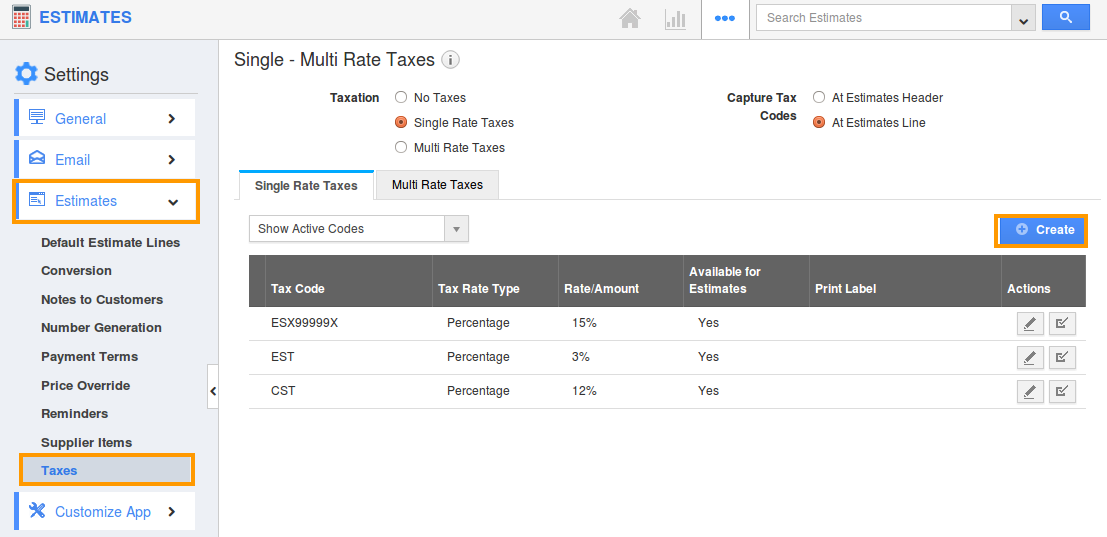 create taxes estimates