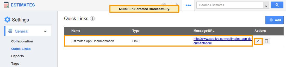 edit quick link