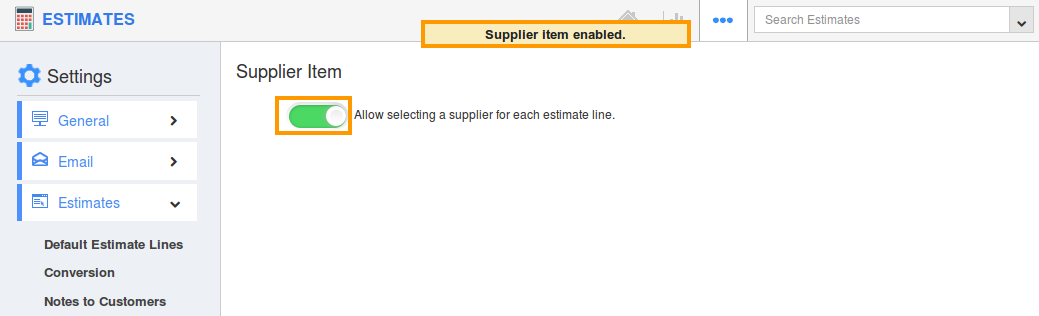 enable supplier item