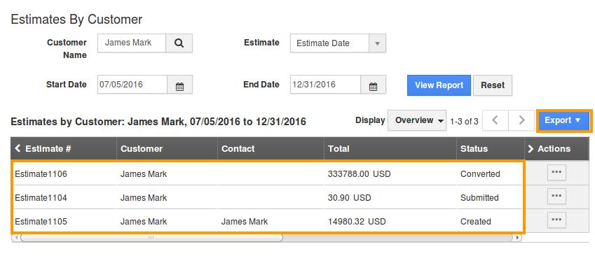 export estimates by customer report