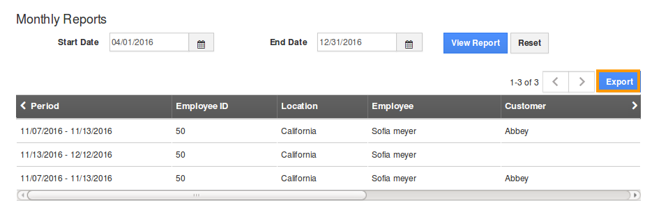 export monthly reports