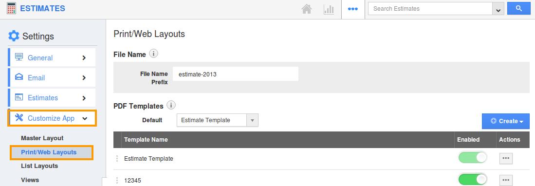 how can i create custom pdf template for my estimates apptivo faq