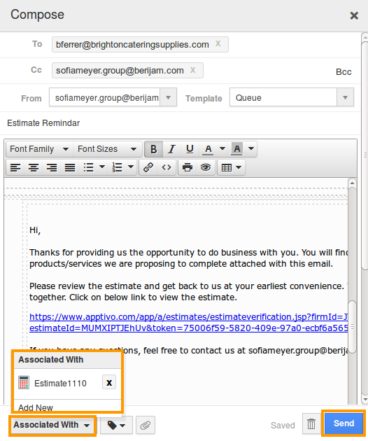 send estimate pdf