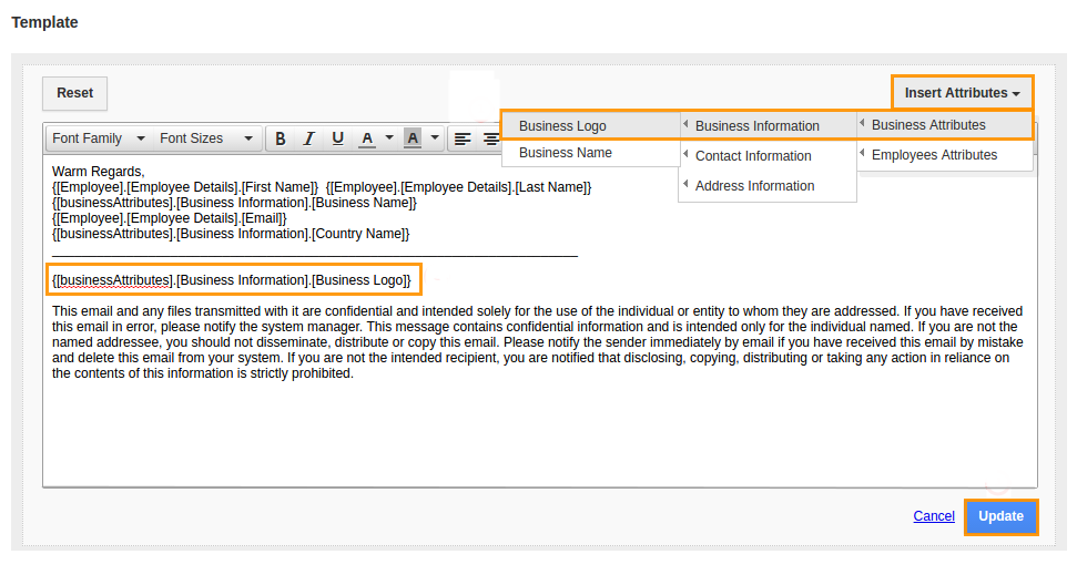 How do I customize email signature template in employees app ...