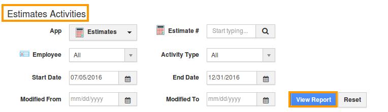 view estimates activities report