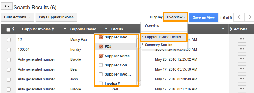 Invoice Maker Free Download How Do I Set Up Custom Views In Supplier Invoices App Other Words For Receipt Pdf with Receipt In French Select Fields You Would Like To View In A Table Format Walmart Gift Receipt Excel