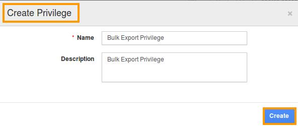 bulk export privilege popup