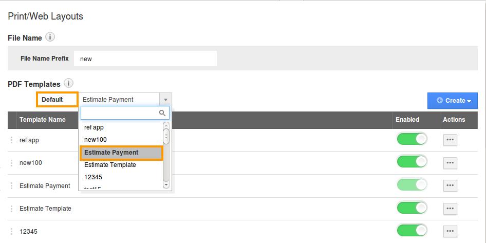 select default pdf template