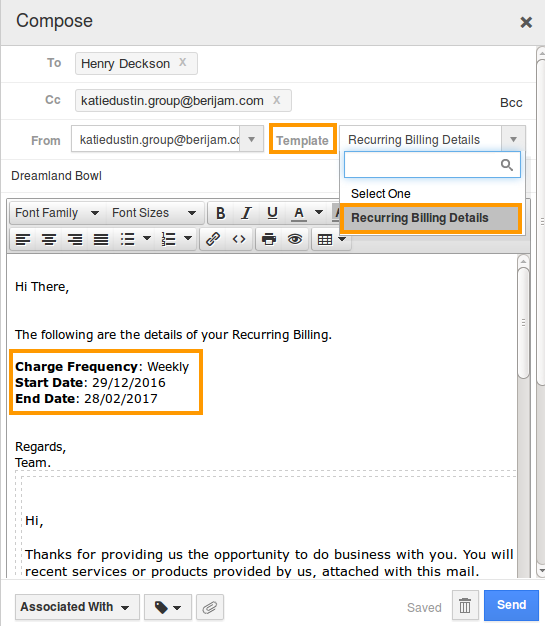 billing detail values dynamically changed