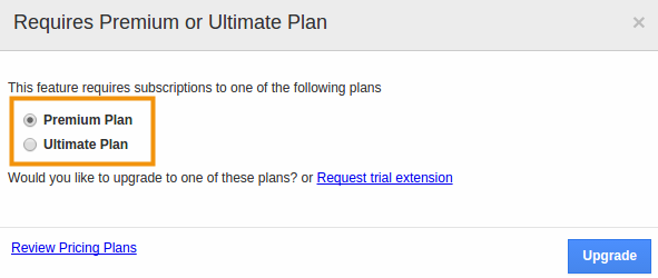 plan upgrade popup