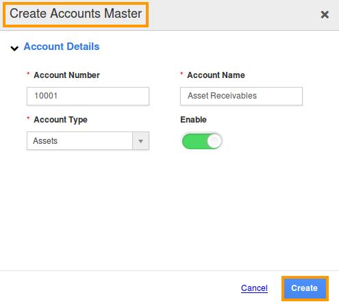 create accounts master popup