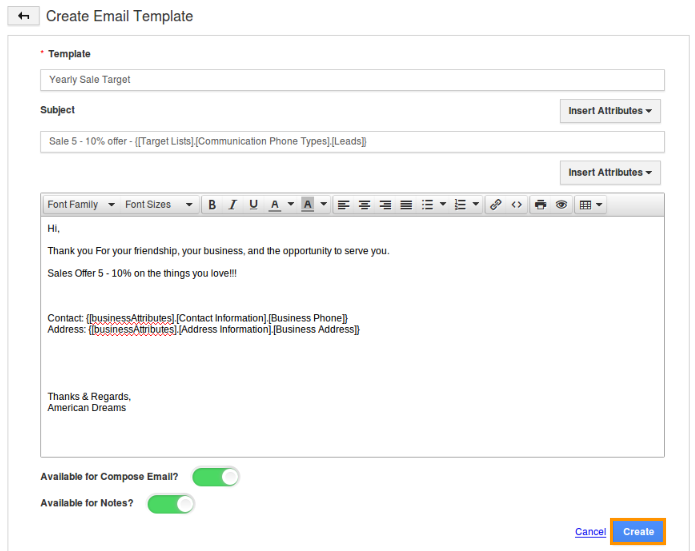 making an email template