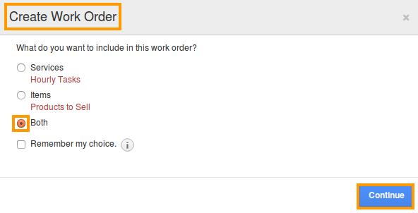 create work order popup