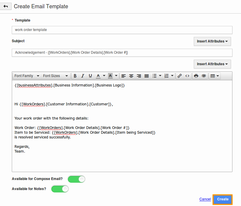 create work orders email templates