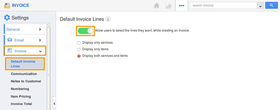 default invoice lines