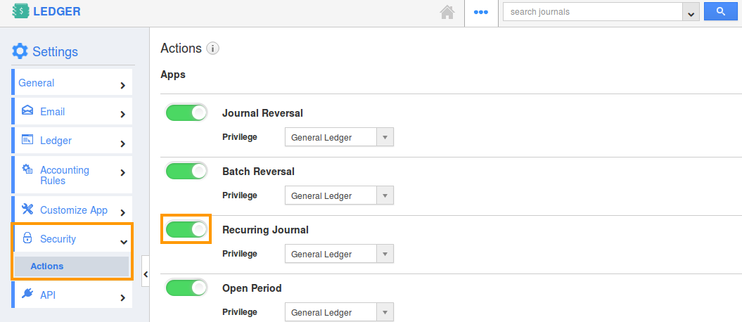 toggle on recurring journal