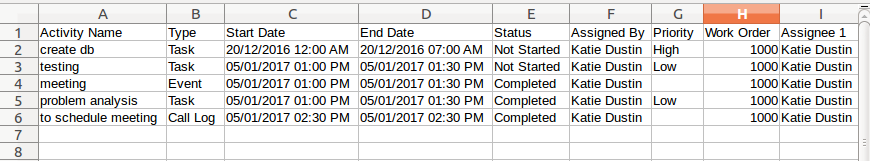 work orders activities in excel