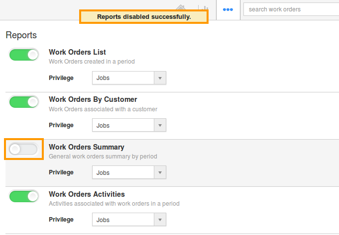 toggle off work order summary