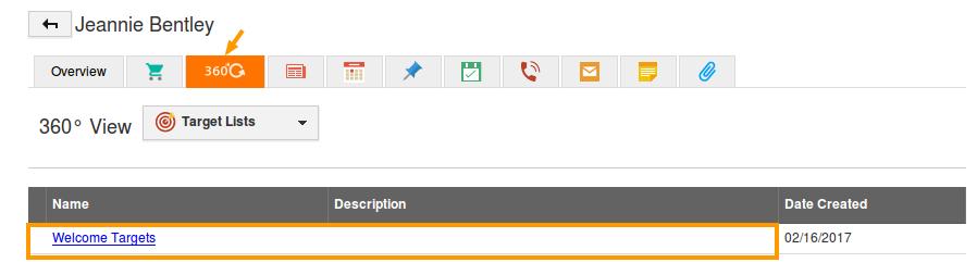 target list in 360 tab